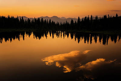 Photograph - Crater Lake Sunset by Whit Richardson