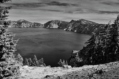 Art Print featuring the photograph Crater Lake View In Bw by Frank Wilson
