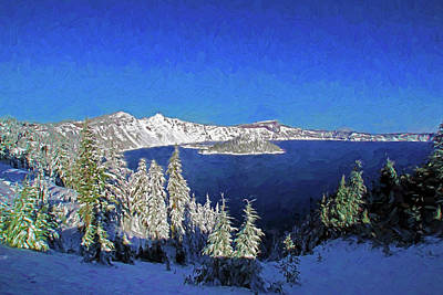 Mixed Media - Crater Lake Winter by Dennis Cox Photo Explorer