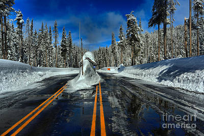 Photograph - Crater Lake Winter Entrance Gate by Adam Jewell
