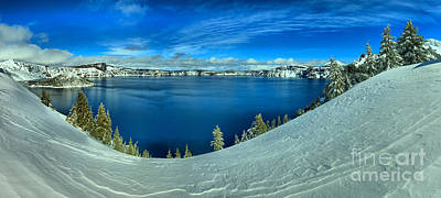 Photograph - Crater Lake Winter Panorama by Adam Jewell