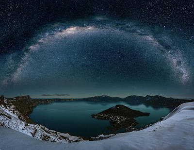Digital Art - Crater Lake With Milkyway by William Freebilly photography