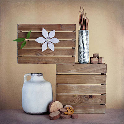 Wood Box Photograph - Crates With Flower Still Life by Tom Mc Nemar