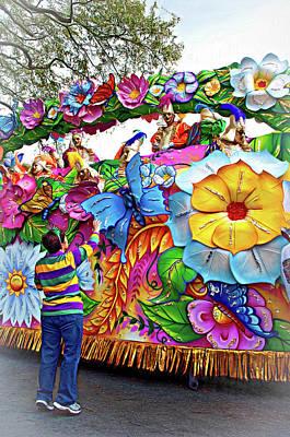 Photograph - Craving Mardi Gras Beads - Tiptoe Pleading Technique - Vignette by Steve Harrington