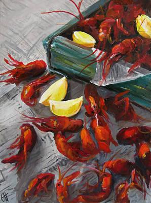 Boiled Crawfish Painting - Crawfish Boil by Cari Humphry