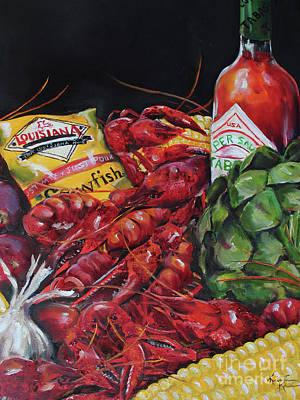 Boiled Crawfish Painting - Crawfish Boil by Kristine Kainer