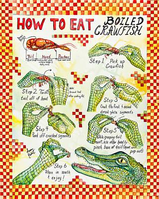 Boiled Crawfish Painting - Crawfish How-to by Susan Hebert