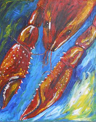 Boiled Crawfish Painting - Crawfish On Blue by Candace Nalepa