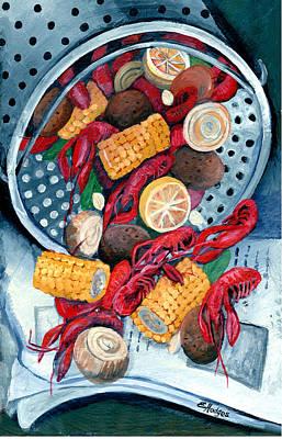 Boiled Crawfish Painting - Crawfish Pot by Elaine Hodges