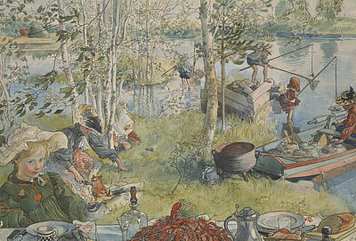 Painting - Crayfishing. From A Home by Carl Larsson