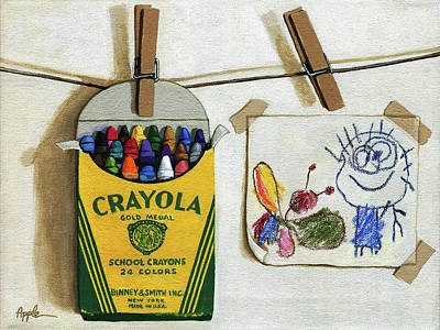 Children Art Painting - Box Of Crayons And Child's Drawing Realistic Still Life Painting by Linda Apple