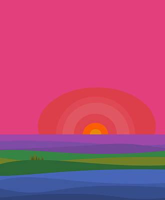 Color Block Digital Art - Crayon Box Landscape - Colorful by Val Arie