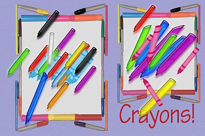 Crayons  Art Print by Tina M Wenger