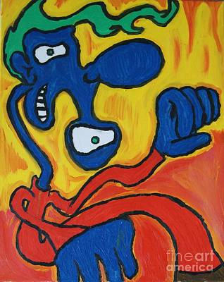 Painting - Crazy Blue Man by Travis Dosser