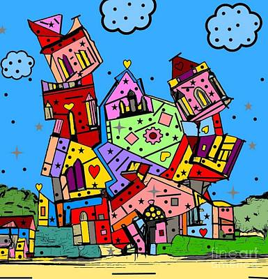 Digital Art - Crazy Building Popart By Nico Bielow by Nico Bielow