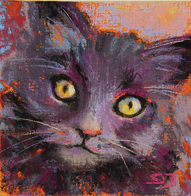Painting - Crazy Cat Black Kitty by Susan Jenkins