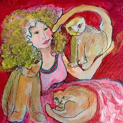 Painting - Crazy Cat Lady by Rosalinde Reece