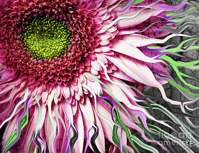 Abstract Digital Art Mixed Media - Crazy Daisy by Christopher Beikmann