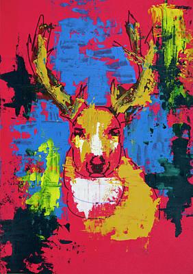 Drawing - Crazy Deer by ZileArt