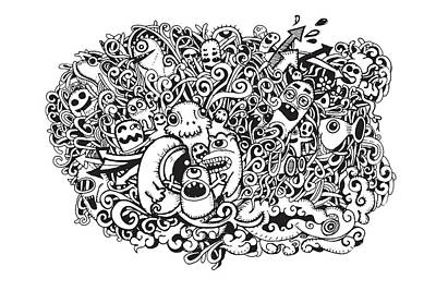 Abstract Collage Drawing - Crazy Doodle Monsters,doodle Drawing Style by Pakpong Pongatichat