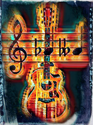 Photograph - Crazy Fingers Guitar Colorful Art by Debra and Dave Vanderlaan