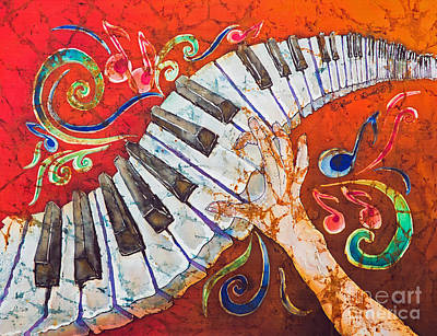 Hand Painted Tapestry - Textile - Crazy Fingers - Piano Keyboard  by Sue Duda