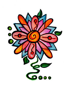 Cute Digital Art - Crazy Flower 3 by Sandi Fender