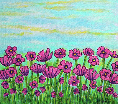 Cosmos Flowers Painting - Crazy For Cosmos by Lisa Lorenz