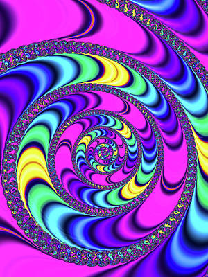 Digital Art - Crazy Fractal Spiral Magenta Blue Yellow by Matthias Hauser