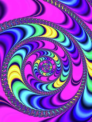 Trippy Digital Art - Crazy Fractal Spiral Magenta Blue Yellow by Matthias Hauser