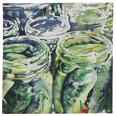 Dill Pickles Painting - Crazy Good Dills by Jana L Bussanich