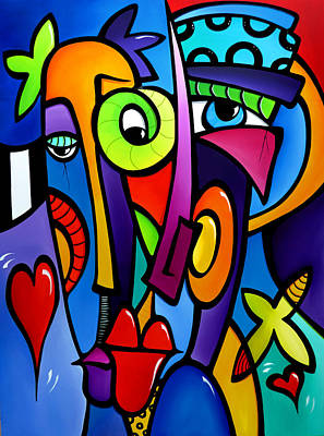 Dog Abstract Art Painting - Crazy Hearts by Tom Fedro - Fidostudio