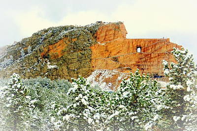Photograph - Crazy Horse Memorial In The Snow by Clarice Lakota