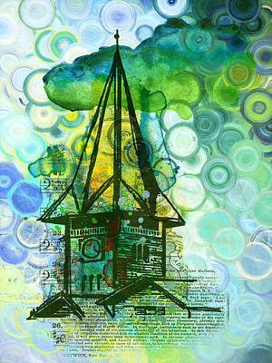 Green Digital Art - Crazy House In The Clouds Whimsy by Georgiana Romanovna