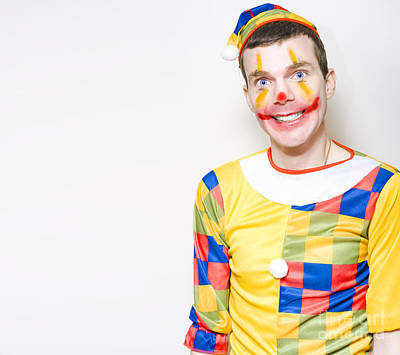 Crazy Male Birthday Party Clown With Funny Smile Art Print