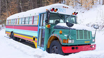 School Bus Photograph - Crazy Painted Old School Bus In The Snow by Edward Fielding