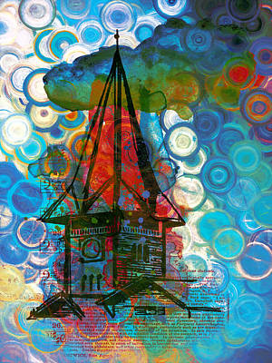 Colore Painting - Crazy Red House In The Clouds Whimsy by Georgiana Romanovna