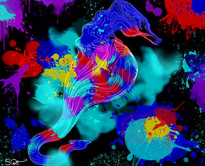 Seahorse Digital Art - Crazy Seahorse Artist In Studio by Abstract Angel Artist Stephen K