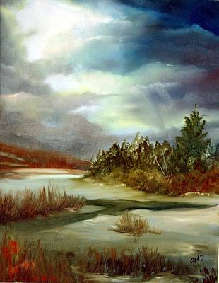 Art Print featuring the painting Crazy Skies by Anna-maria Dickinson