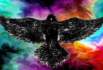 Crow Digital Art - Crazy Skies Crow by Abstract Angel Artist Stephen K