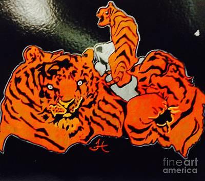 Crazy Tigers Art Print