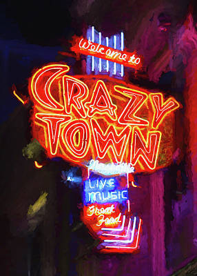 Downtown Nashville Photograph - Crazy Town - Impressionistic by Stephen Stookey