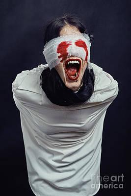 Crazy Woman Vampire Art Print