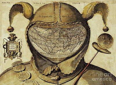 Cartography Painting - Crazy World Antique French Joker, Court Jester Map by Tina Lavoie