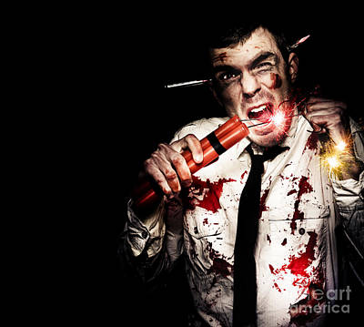 Fused Photograph - Crazy Zombie Businessman With Dynamite Explosives by Jorgo Photography - Wall Art Gallery