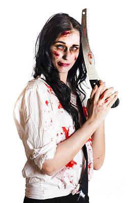 Crazy Zombie With Butcher Saw Art Print