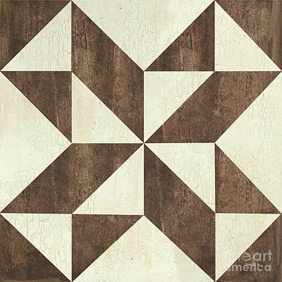 Block Quilts Painting - Cream And Brown Quilt by Debbie DeWitt