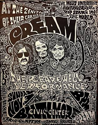 Eric Clapton Drawing - Cream Concert Poster by Pd
