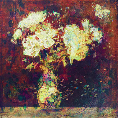 Photograph - Cream Peonies Abstract by Anna Louise