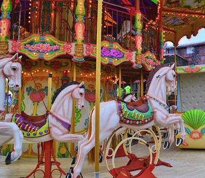 Carousel Photograph - Cream Trotters by JAMART Photography